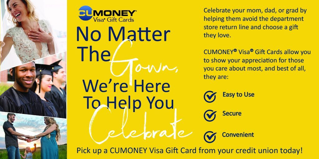 pick up a Cu Money Gift Card for any occasion