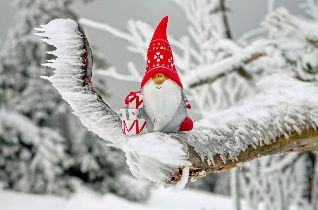 santa gnome on tree