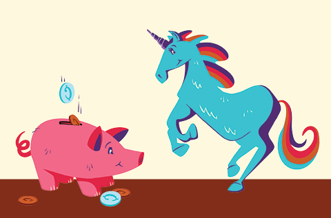 piggy bank and unicorn